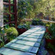 Walkway and koi pond designed by Peter Logan for the the Green Home under the H