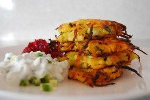 Cauliflower and Sweet Potato Latke in Laurie David's Family Dinner Cookbook