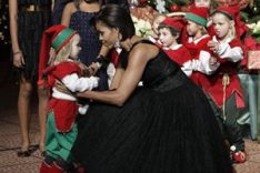Michelle Obama's Green Message in a Black Vintage Dress