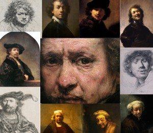 Rembrandt, self portraits, details