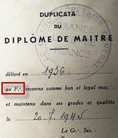 Diplôme Maçonnique Français de 1945, Grande Loge De France