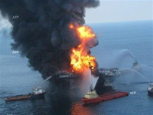 Mariner Energy Oil rig explodes in the Gulf of Mexico near the Louisiana Coast