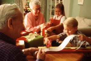 Wrapping Christmas Presents with Grandparents