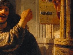 Rembrandt van Rijn, Samson Threatened his Father-in-law (detail showing the signature), 1635, Gemäldegalerie, Berlin